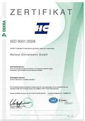 Zertifikat im Bild - ISO 9001-2008