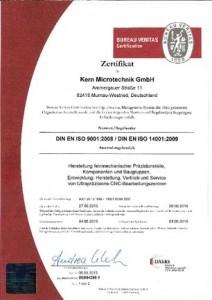 Kern Microtechnik ist nach DIN ISO zertifiziert